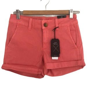 NWT AEO Twill Midi Low Rise Coral Pink Shorts 2